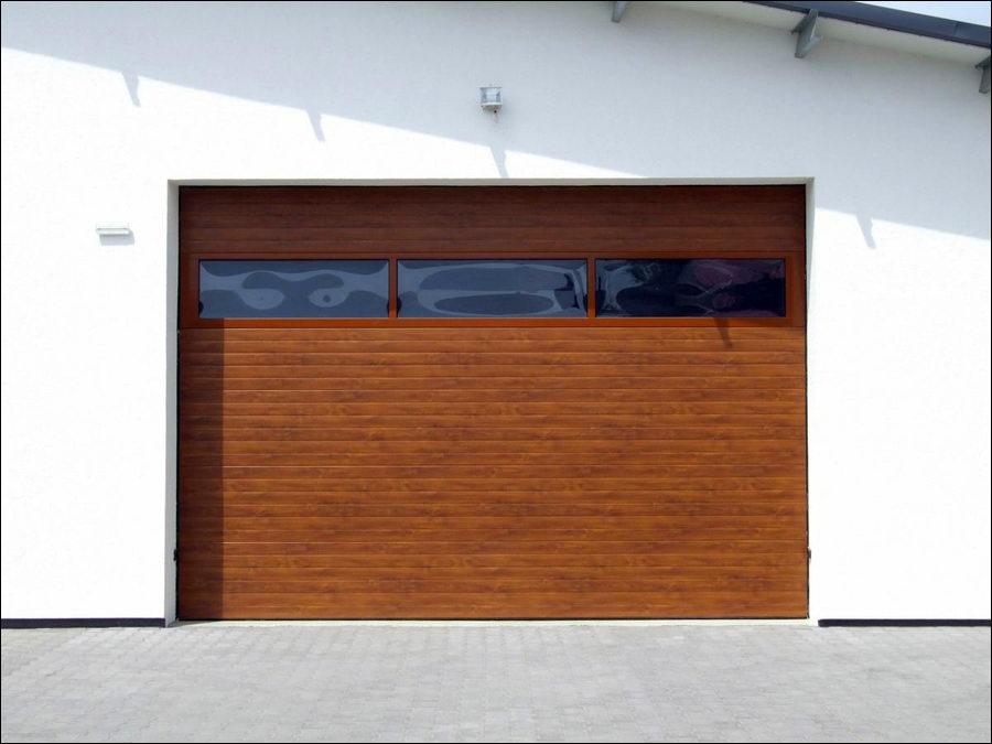 Aranytölgy fadekor ipari kapu, egyedi festésű FULL VISION panoráma ablakkal